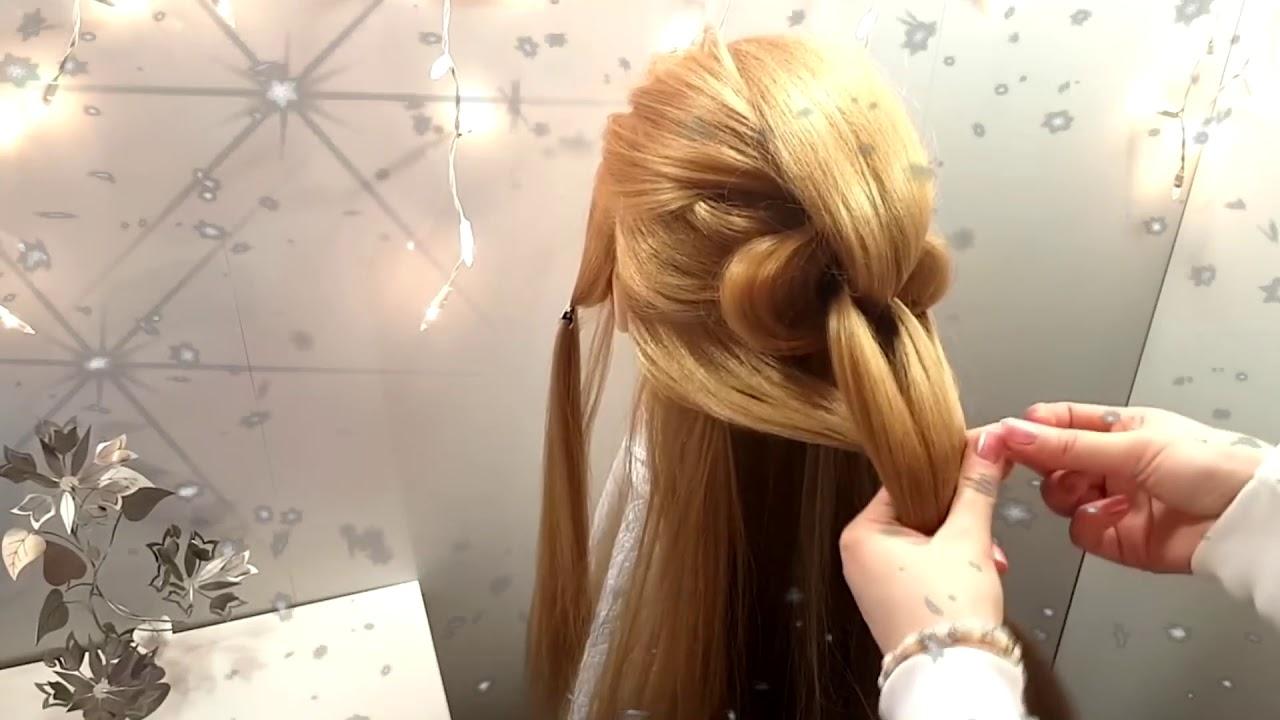 Прическа на новый год красивая коса из резинок кочиски из резиночек Прически длинные средние волосы