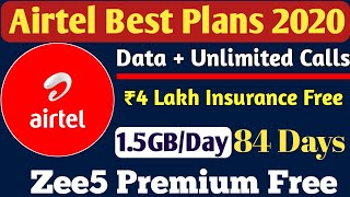 Airtel Prepaid Recharge Plans & Offers List 2020 | Airtel New Best Plans Unlimited Calling & 4G Data