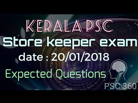 Kerala PSC Expected questions of Store keeper exam