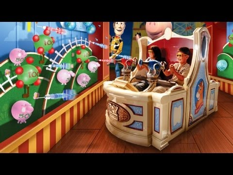 Toy Story Midway Mania Ride Queue On Ride Pov Youtube