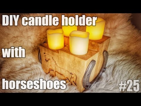 Candle holder with horseshoes and free hand routed horse