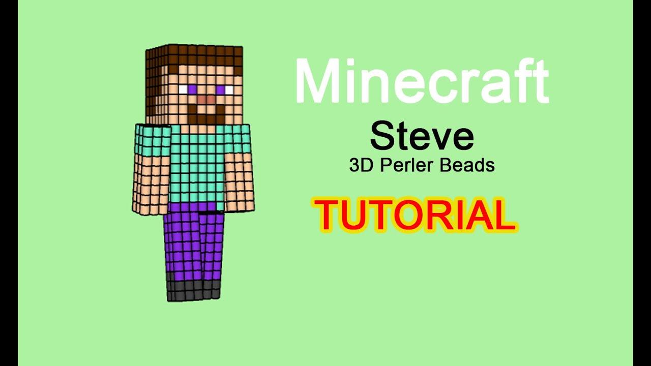 3d Perler Beads Hama Beads Pyssla Minecraft Steve Tutorial