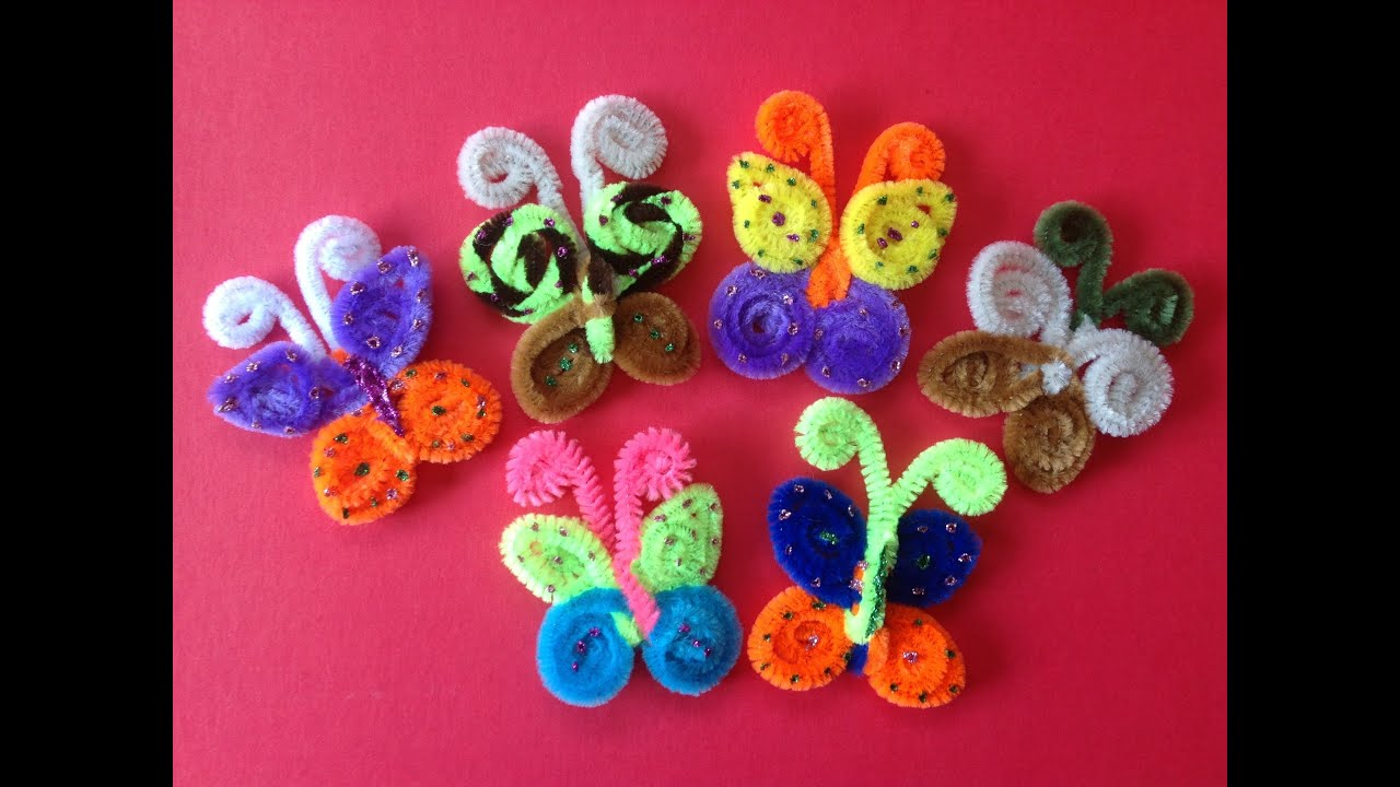 Mariposas hechas con limpia pipas butterflies made with pipe cleaners youtube - Imagen de manualidades ...