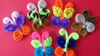 MARIPOSAS HECHAS CON LIMPIA PIPAS. - Butterflies made with pipe cleaners .