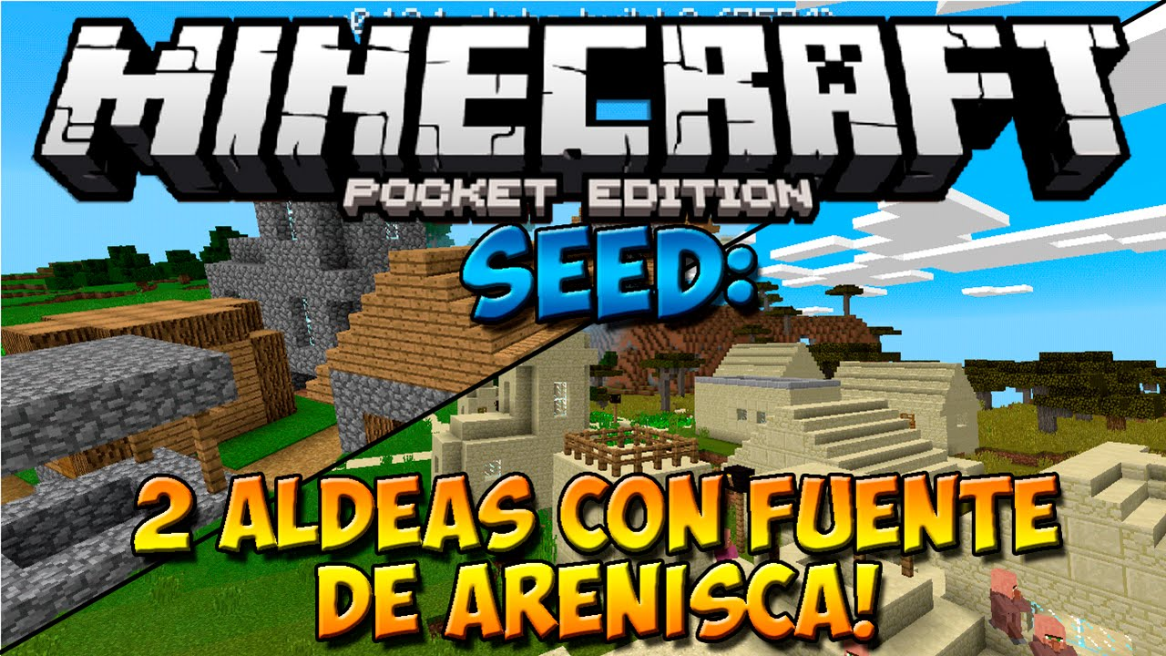Seeds Minecraft Pe 0 14 0  Seed De Doble Aldea Con Fuente De Arenisca  Para Minecraft Pe 0 14 0