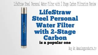 LifeStraw Steel Personal Water Filter with 2 Stage Carbon Filt…