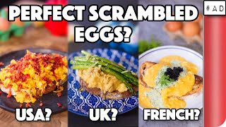 How To Make Perfect Scrambled Eggs - 3 ways (USA vs UK vs FRANCE)