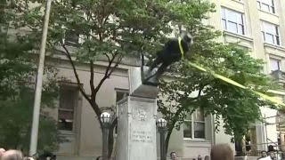 Protesters topple confederate statue in Durham, NC