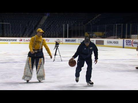 Predators hit the ice for a game of basketball HORSE