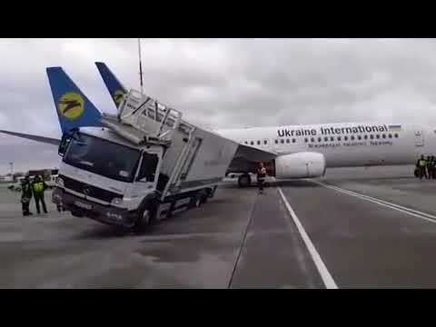 Ukraine International Airlines Boeing 737-800 hit catering car in Borispil arport.