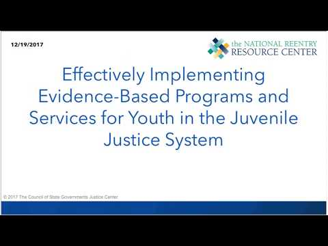 Effectively Implementing Evidence Based Programs for Youth in the Juvenile Justice System