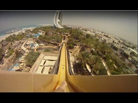 Самый страшный аттракцион в аквапарке Дубае, водная горка камикадзе «Leap of Faith» GoPro Hero 3 - Как поздравить с Днем Рождения