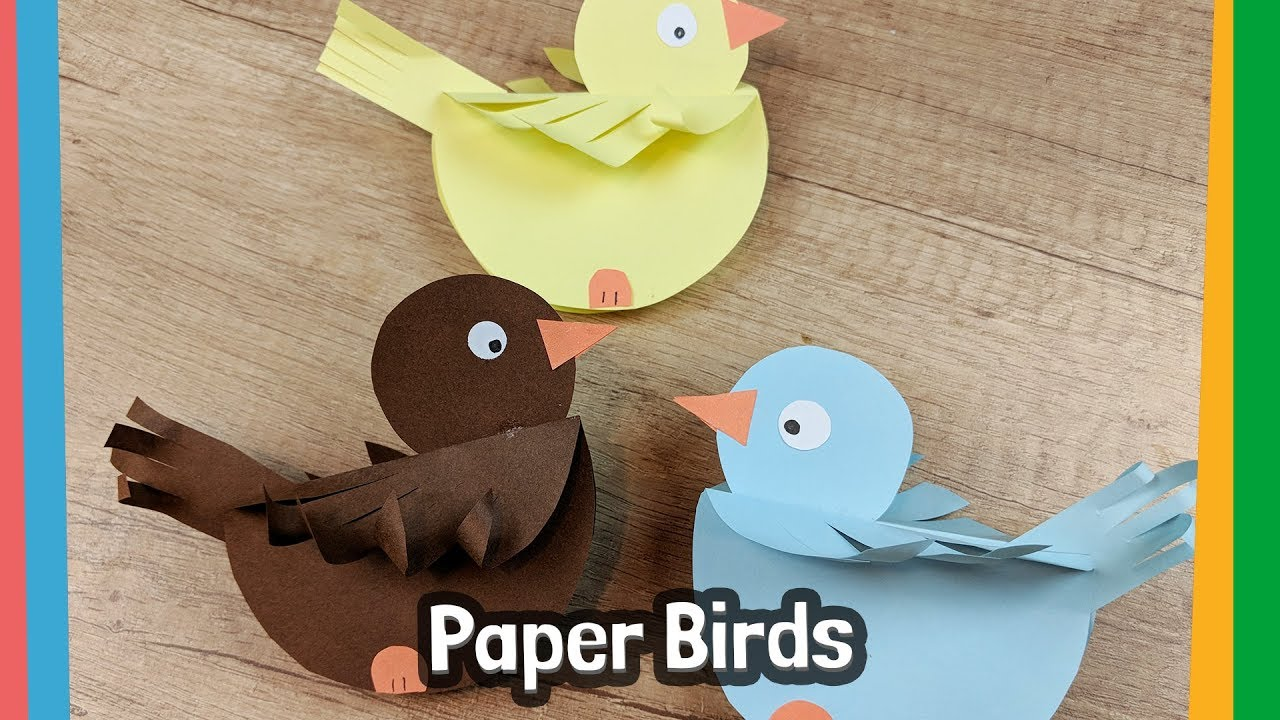 How To Make Paper Birds Simple Craft Activity For Kids Youtube