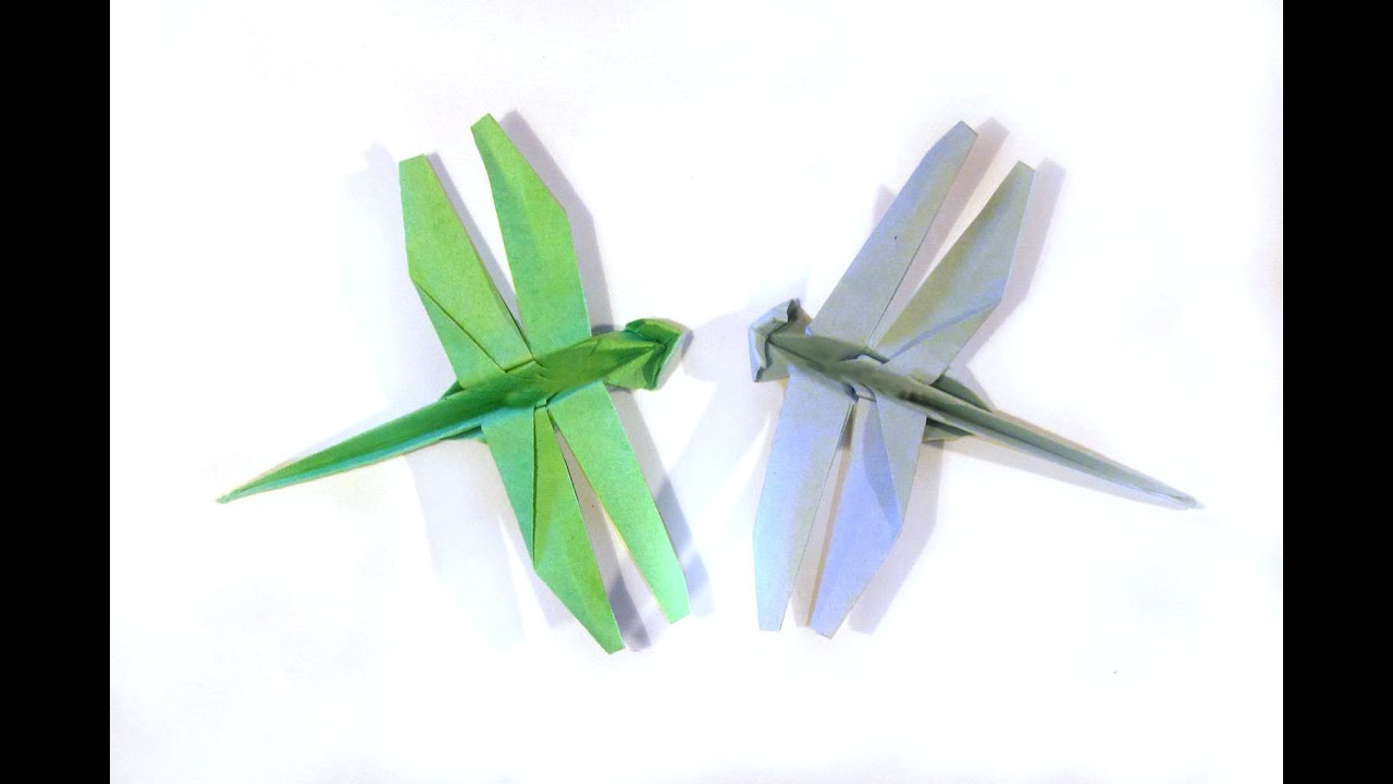 Origami Dragonfly - Tutorial - How to make an origami ... - photo#43