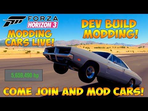 Forza Horizon 3 - MODDING CARS LIVE! 10,000HP CARS! DEV BUILD LIVE MODDING