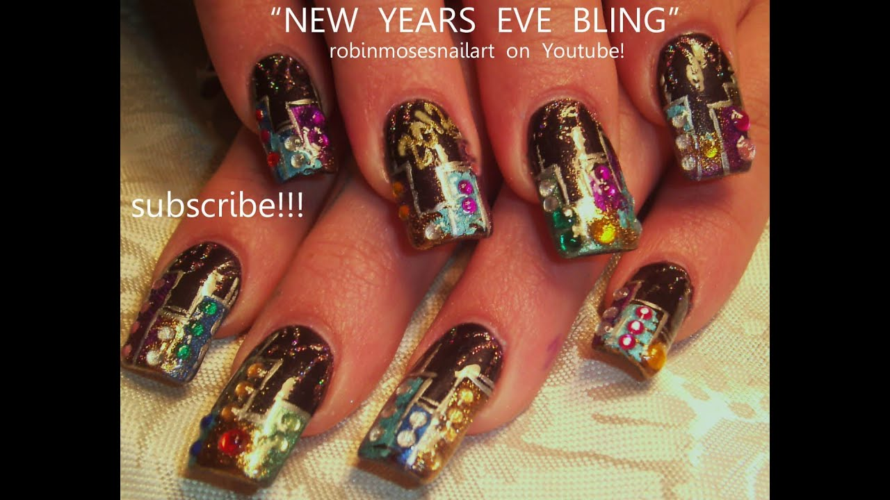 new years eve bling nail art glitter skyline with fireworks nails design youtube - Nail Design Ideas 2012