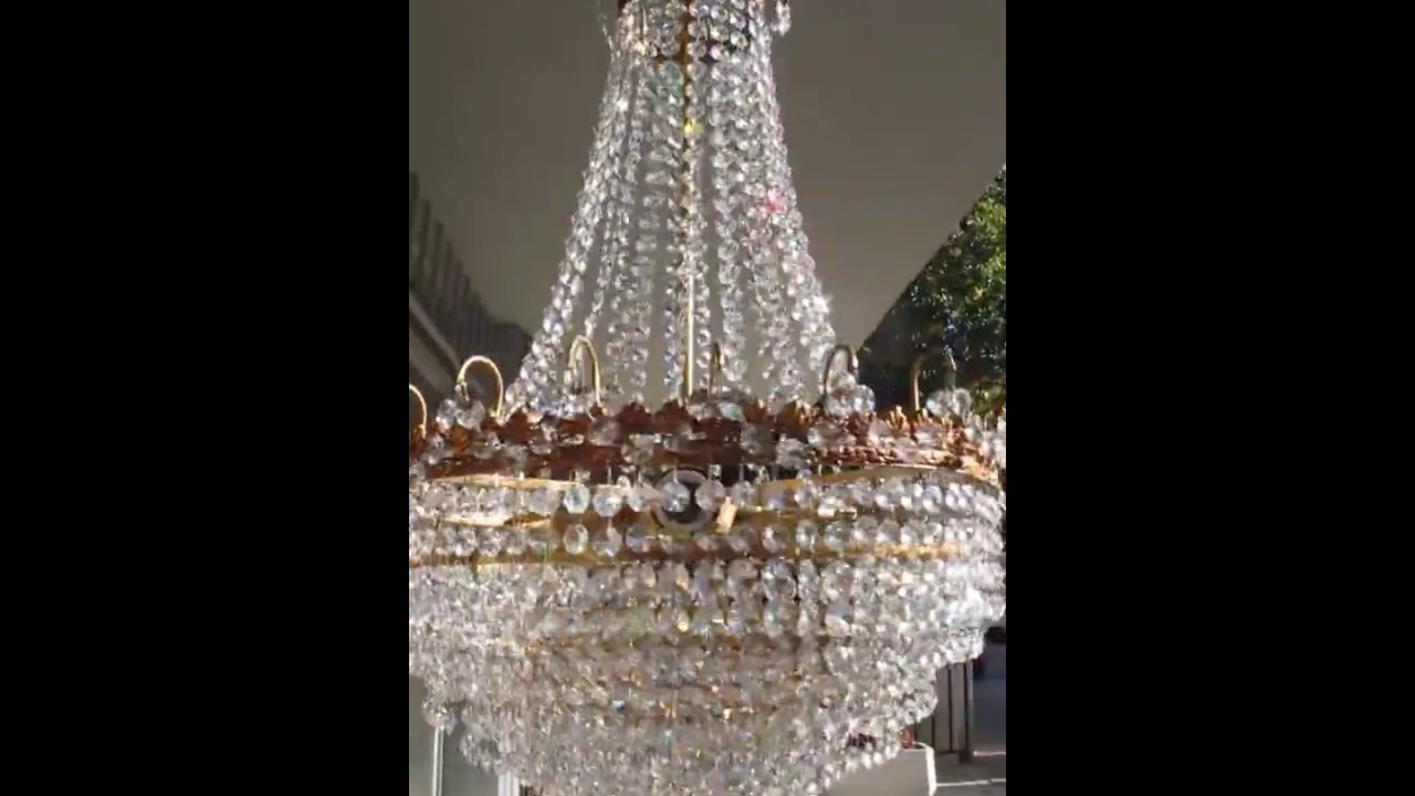 Antique Basket Style Brass Strass Swarovski Crystal Chandelier 1940s 19 In