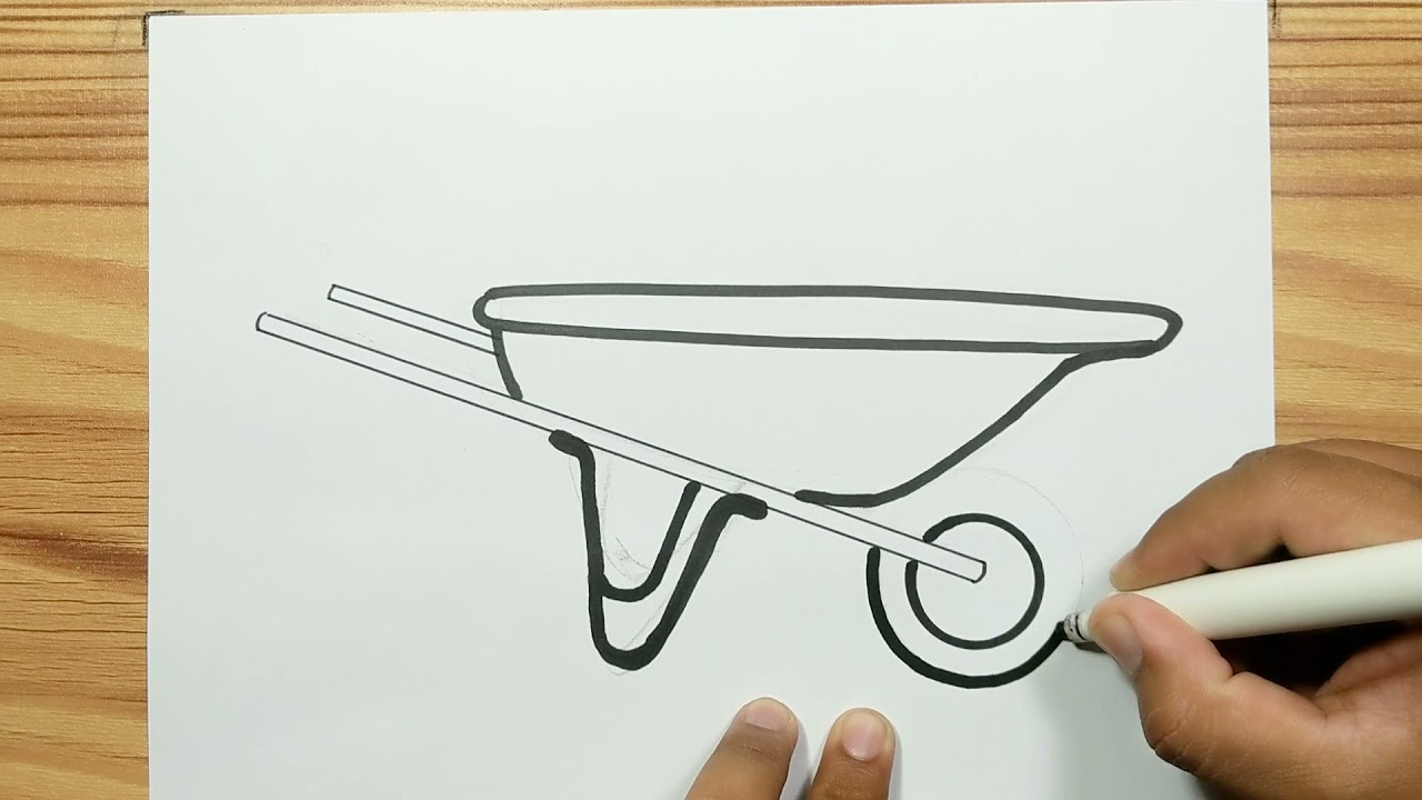 images How To Draw A Simple Wheelbarrow how to draw wheelbarrow with easy