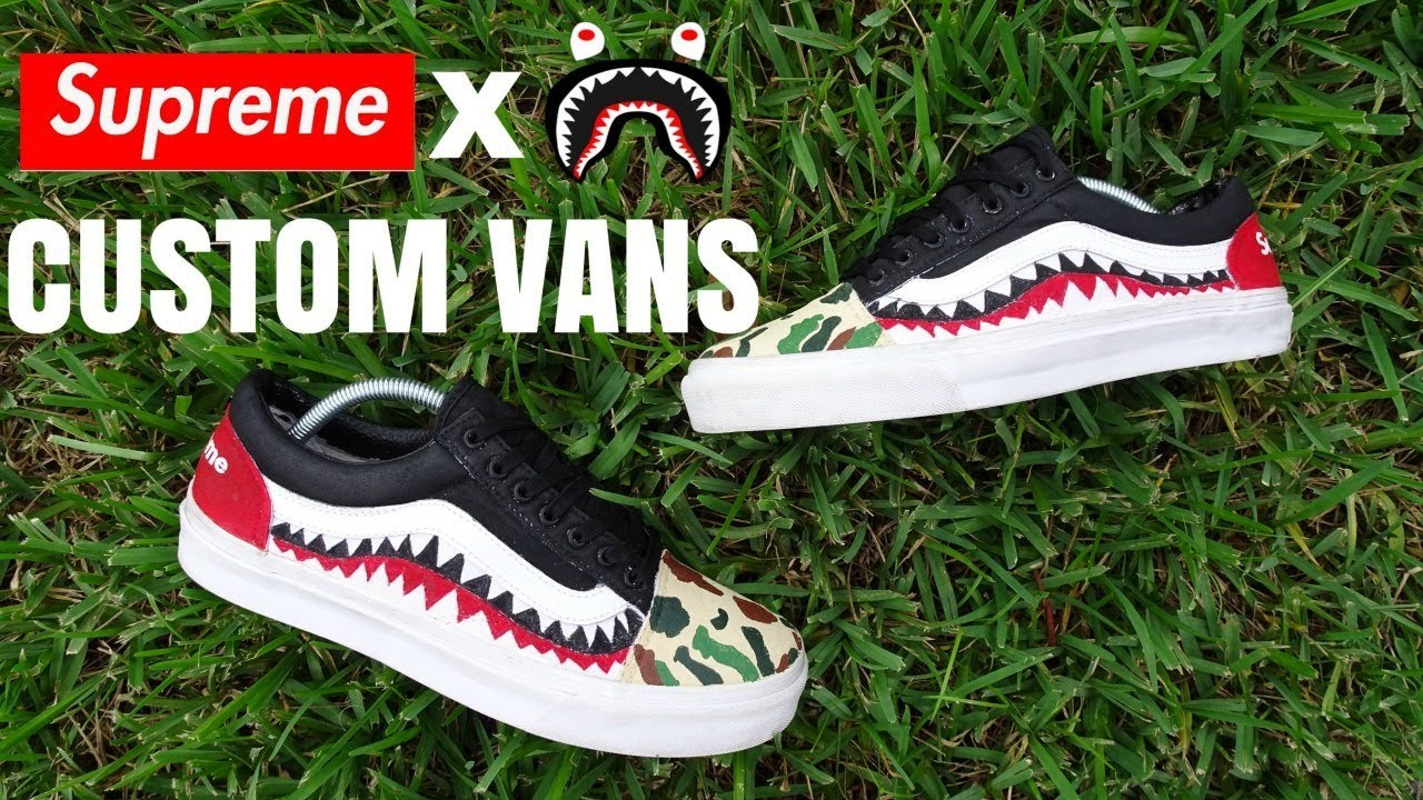 CUSTOM SUPREME LV VANS ON FEET REVIEW - YouTube