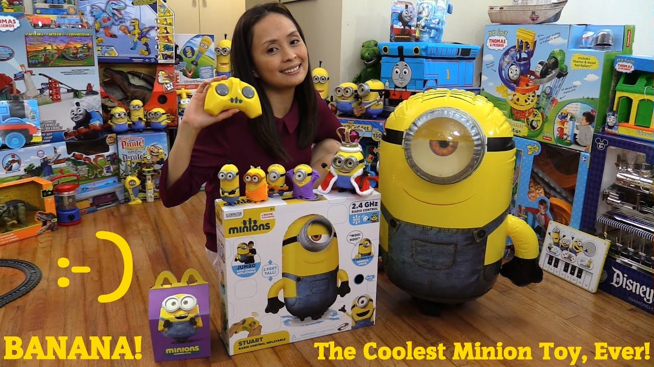 King BOB The Minion Action Figure Happy Meal And Stuart RC Inflatable Unboxing