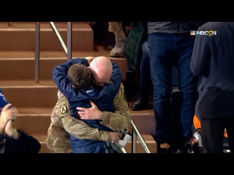 Hoss Michaels - Military Dad Reunited With Son At Hockey Game