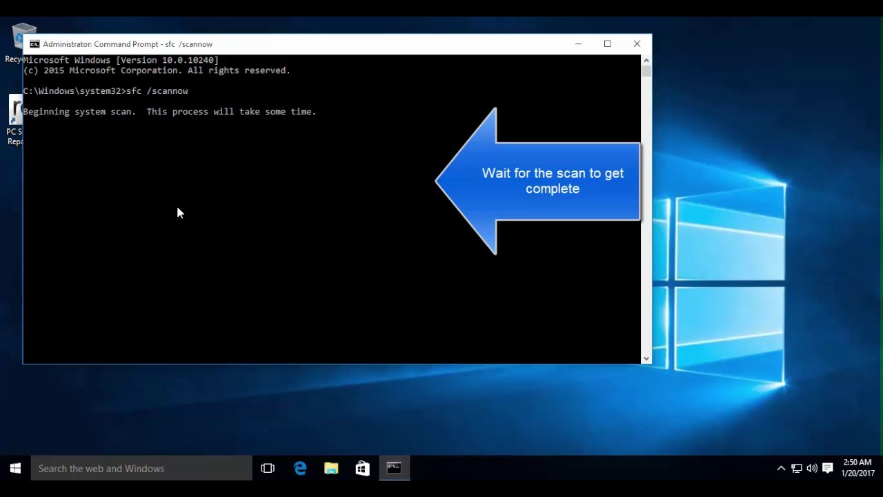 How to run sfc scan in Windows 10