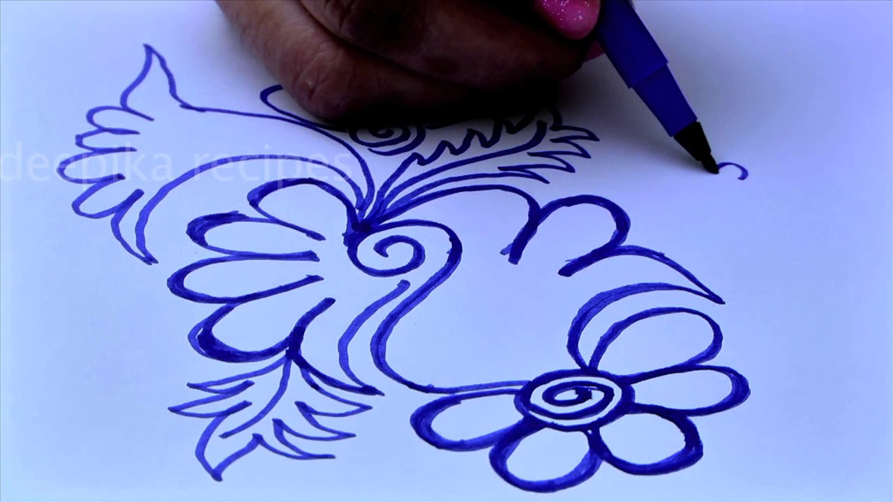 Freehand colorful flower rangoli designs with sketch pens simple kolam designs without dots muggu