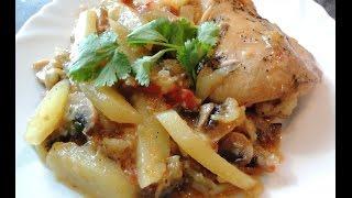 Овощное блюдо с грибами и курицей