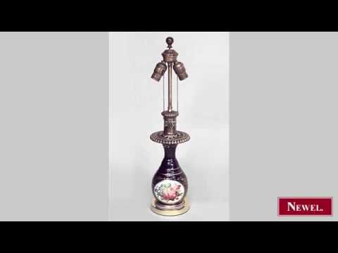 Antique French Victorian blue Sevres porcelain table lamp