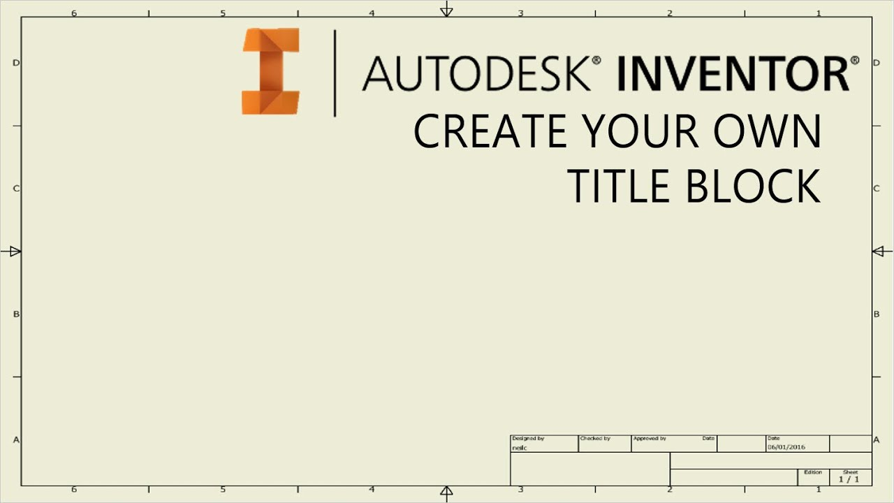 create your own drawing title block template autodesk inventor youtube. Black Bedroom Furniture Sets. Home Design Ideas