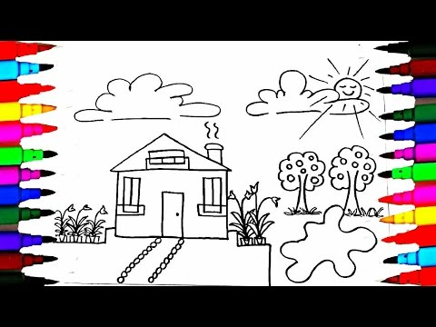 How To Draw and Paint Kids Playhouse - Learning Coloring Pages - Videos for Children - Learn Colors