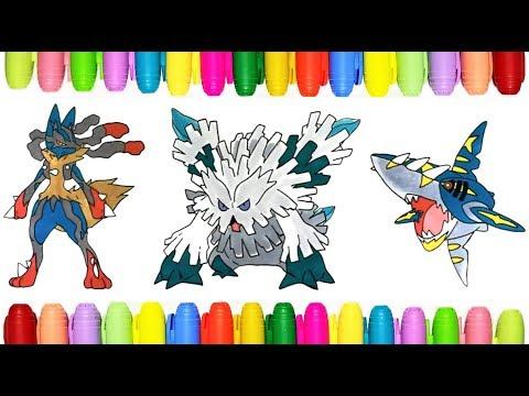 Mega Pokemon Coloring Pages Mega Lucario Abomasnow And Sharpedo