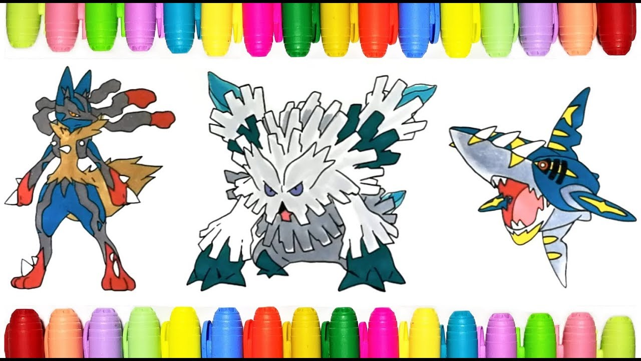 Mega Pokemon Coloring Pages Mega Lucario Abomasnow And Sharpedo Youtube