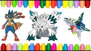 Mega Pokemon Coloring Pages Mega Lucario Abomasnow And Sharpedo Youtube