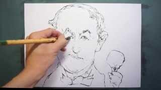 【HOW TO DRAW-描き方】「トーマス・エジソン( Thomas Edison)の似顔絵(caricature)を 墨でデッサン。