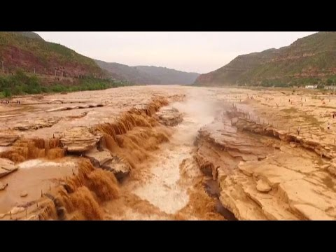1400 Cubic Meters Per Second Waterfall In China's Shanxi Province