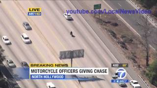Police Chase - Motorcycle Freeway Chase June 5, 2013