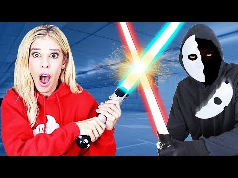 GAME MASTER FACE REVEAL after Battle Royale in Real Life (Learn how to use Lightsaber with new mask)