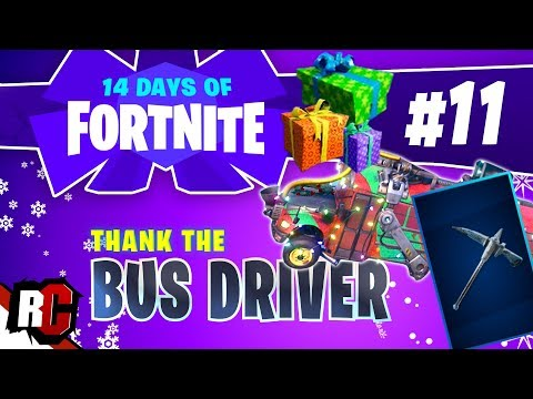 14 Days of Fortnite - DAY 11 How to Thank the Bus Driver (Frozen Axe Reward)