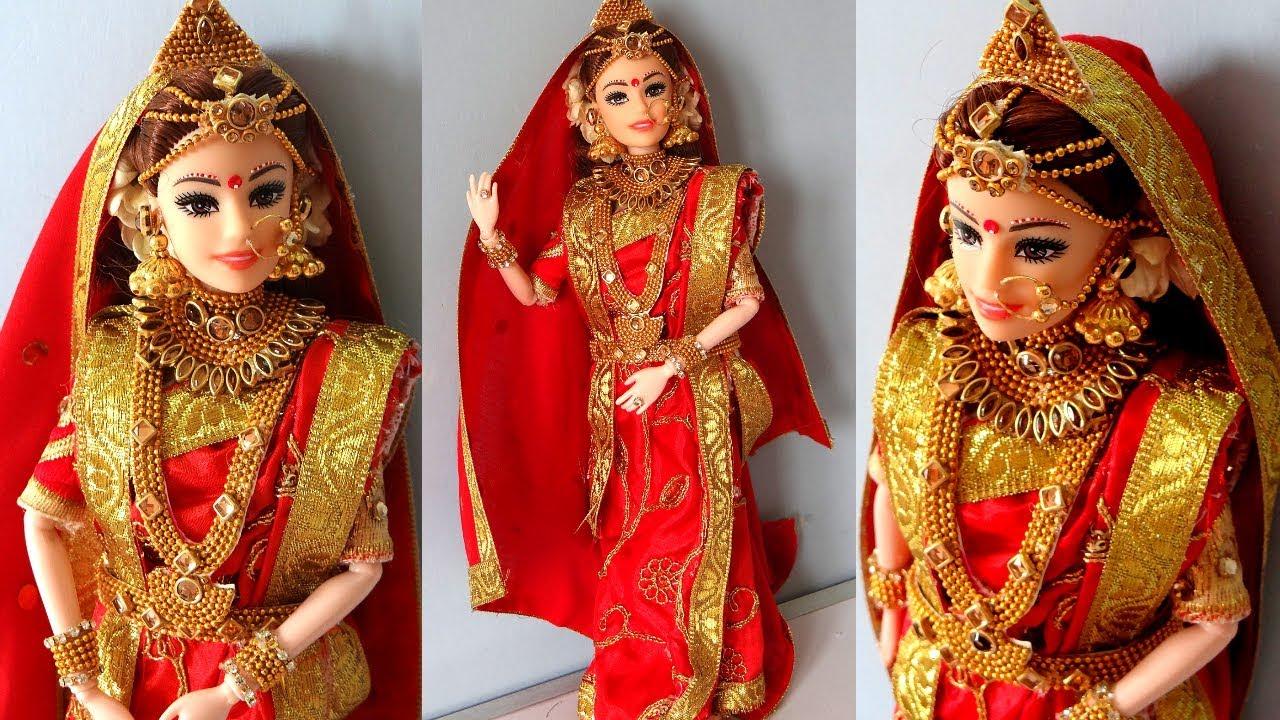 Barbie BENGALI saree draping | Indian bridal doll and jewellery | Drape a  perfect saree for barbie