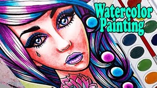 Painting a Tattooed Girl With Pink and Blue Hair With Watercolors