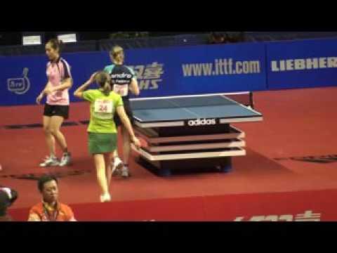 Tischtennis Zeitlupe German Open 2010 Berlin  10 Ladies Doubles 2
