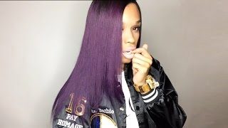 WowAfrican Purple Color Lace Front Wig CLW39| Virgin Brazilian Hair