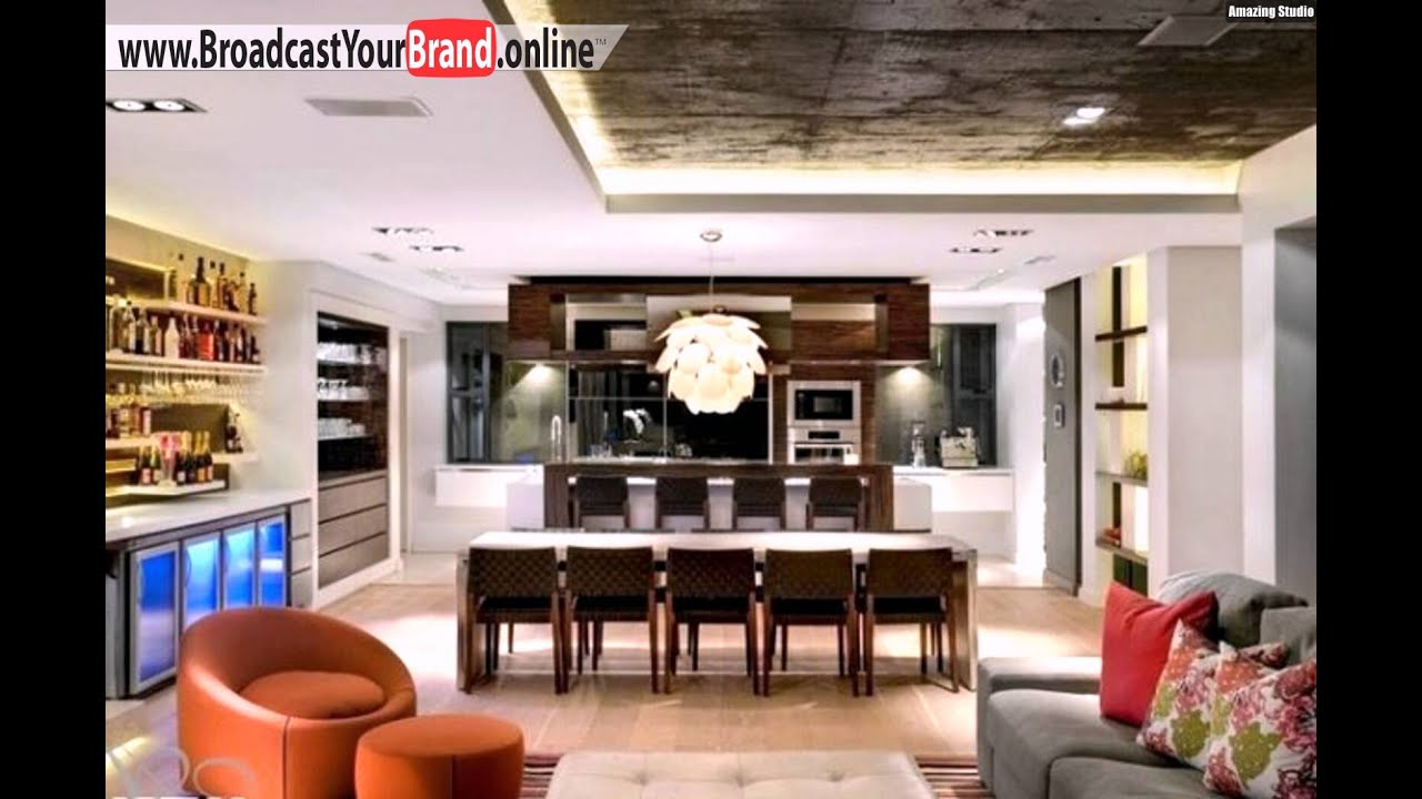wohnzimmer k che in einem eklektisch abgeh ngte decke einbauleuchten youtube. Black Bedroom Furniture Sets. Home Design Ideas
