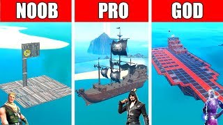 Fortnite NOOB vs PRO vs GOD: BOAT SHIP CHALLENGE in Fortnite