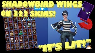 "Back Bling Showcase: Fortnite ""SHADOWBIRD WINGS"" on ALL SKINS [322] (""SHADOWS RISING"" Pack) Part 2/3"