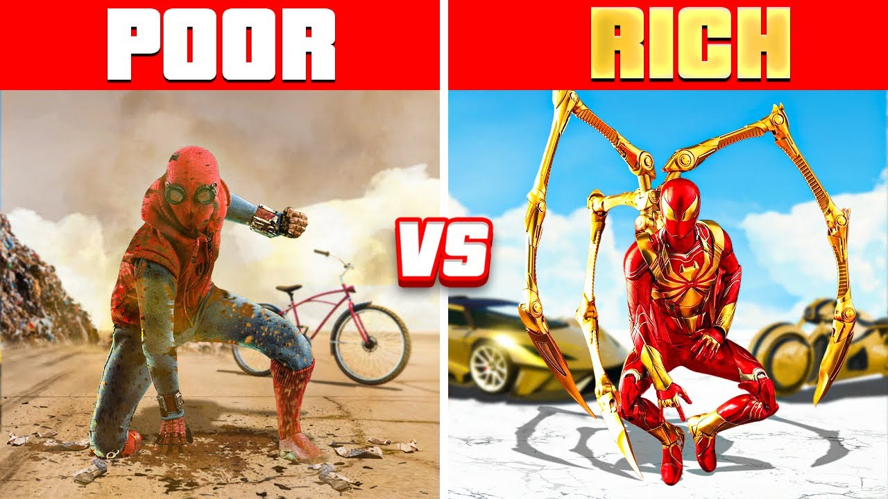 Download POOR Spider-Man vs. RICH Spider-Man In GTA 5! (GTA 5 RP Mods)