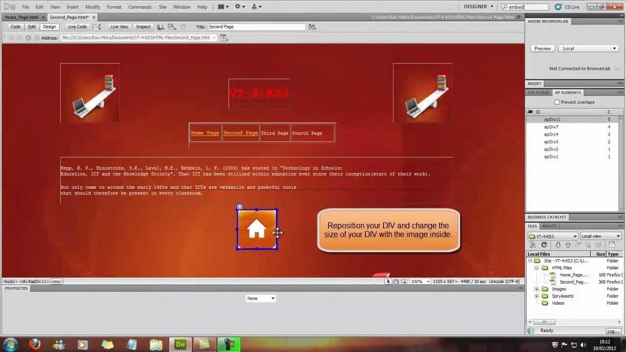 how to create a hyperlink in dreamweaver