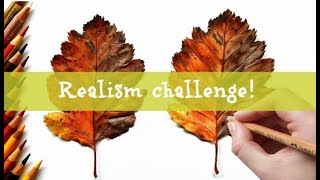 The Realism Challenge: Autumn leaf in colored pencil | Leontine