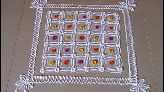 Easy and simple rangoli design with 6 by 6 dot grid | Creative rangoli designs by Poonam Borkar